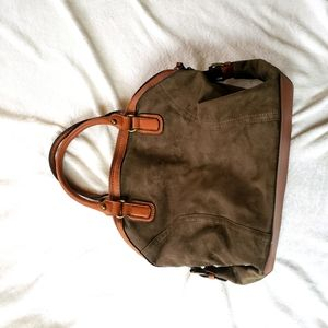 Cato suede handbag purse brown green gray